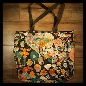 Lesportsac Large Gray Floral Mushrooms Tote Bag